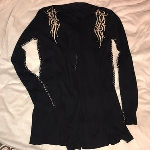 Sweaters - Embroidered Cardigan